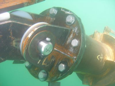 Underwater Spar Connection holding a large floating dock in place